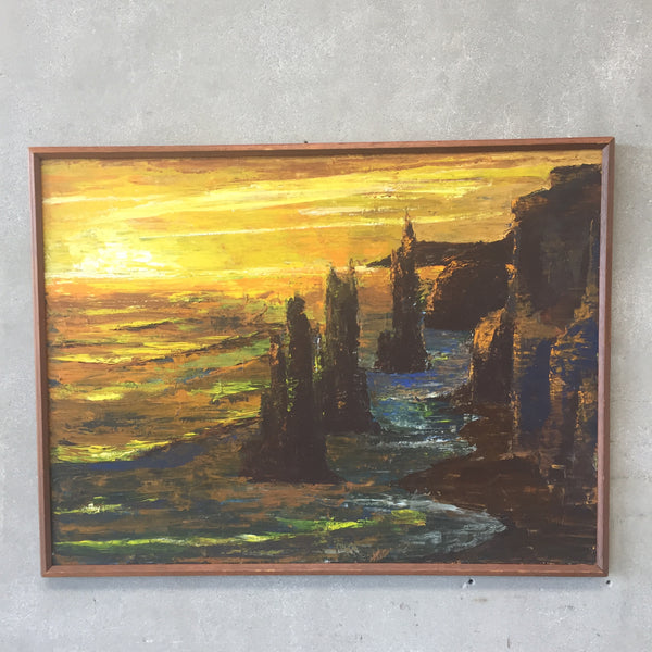 1960's Modern Oil on Canvas Seascape