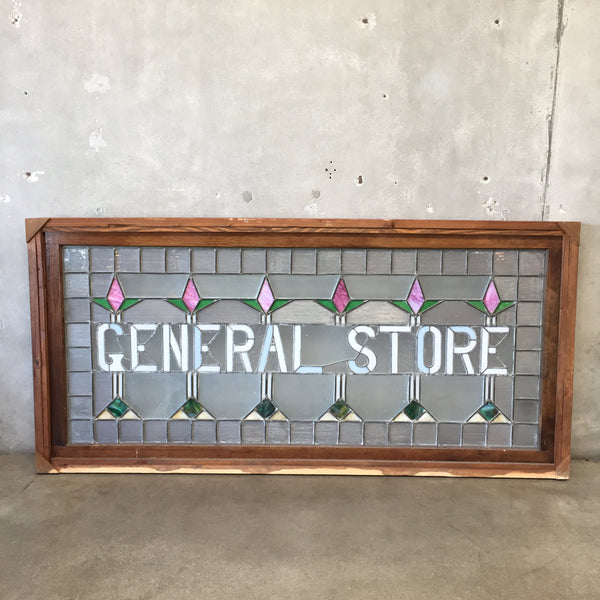 Vintage Stain Glass Framed General Store Sign