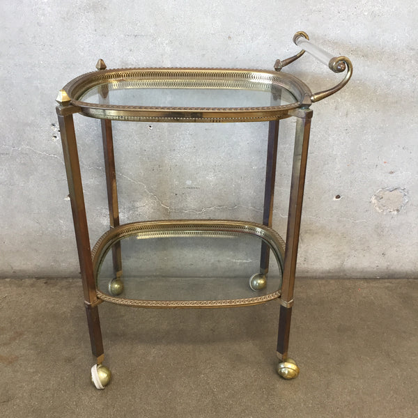 Hollywood Regency Brass Bar Cart with Lucite Handle