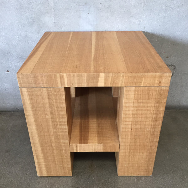 Natural Wood Square End Table