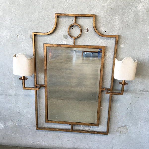 Gold Mirror with Sconces