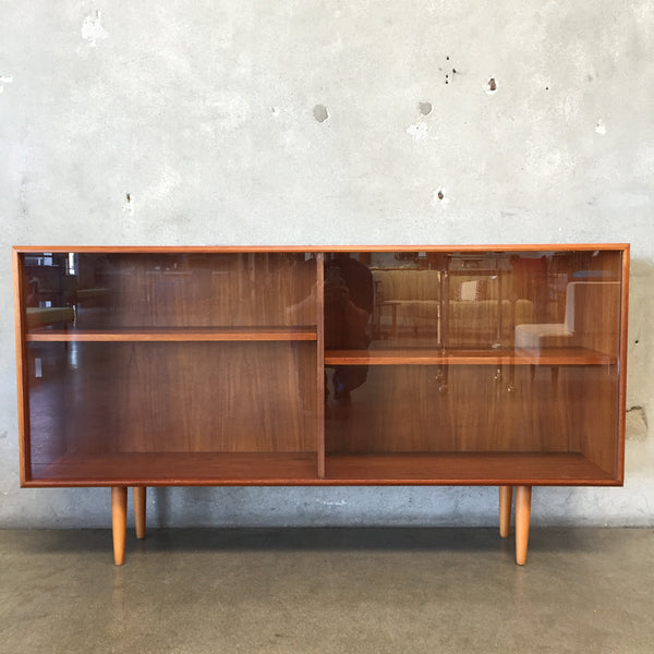 Danish Modern Teak Display Case with Beech Legs