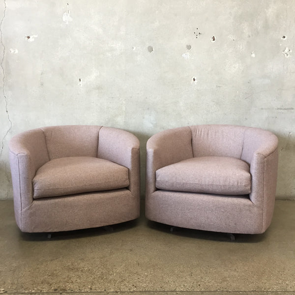 Pair of Vintage Mid Century Swivel Lounge Chairs