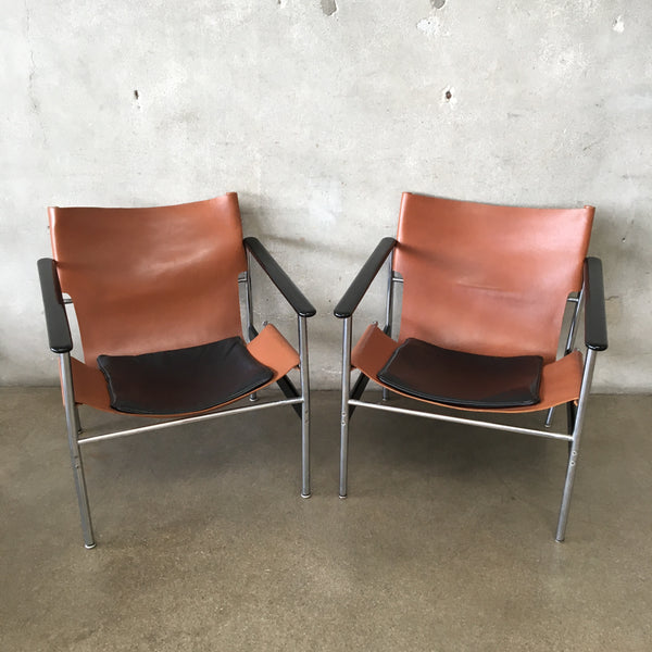 Pair of Vintage Knoll Pollack 657 Chairs With Original Leather