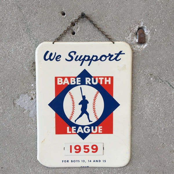 1959 Babe Ruth League Metal Wall Sign