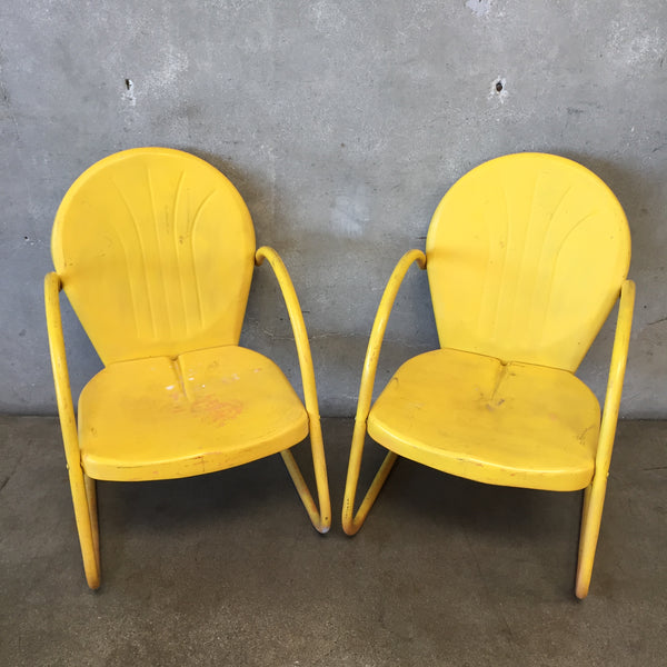 Pair of Yellow Retro Clam Shell Chairs