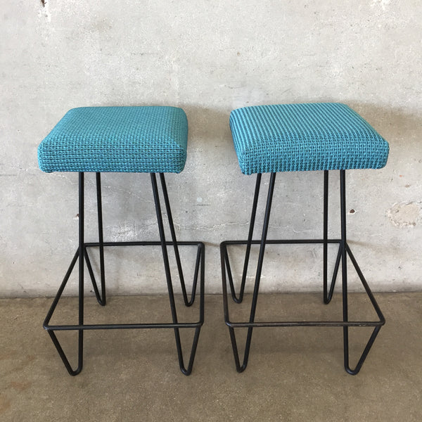 Pair of Blue Frederick Weinberg Hairpin Stools