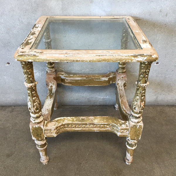 Antique Glass Top Chippy Side Table