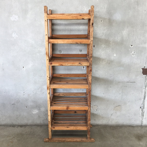 Vintage Six Shelf Pine Bread Rack