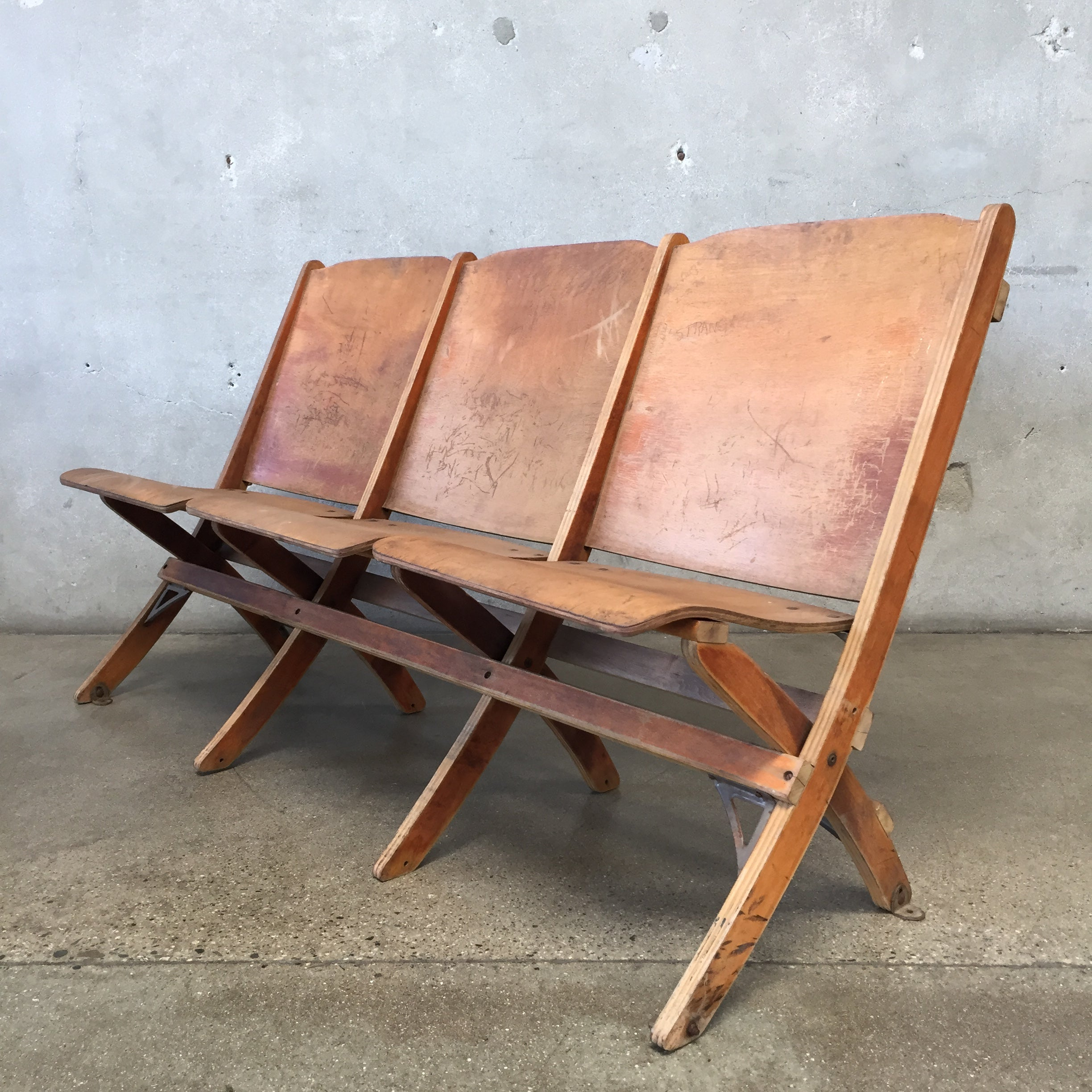 Fabulous Vintage Theater Bench Caraccident5 Cool Chair Designs And Ideas Caraccident5Info