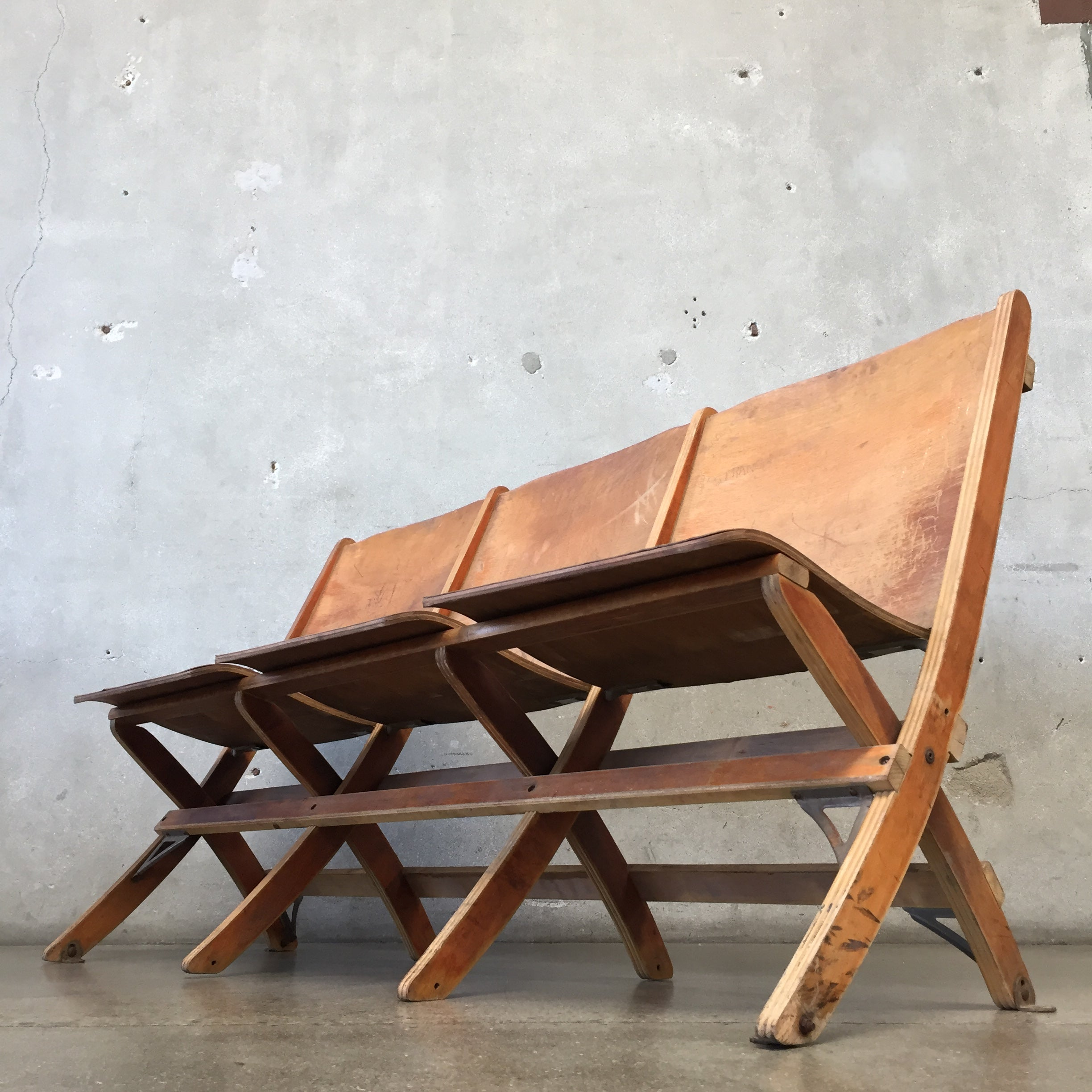 Swell Vintage Theater Bench Caraccident5 Cool Chair Designs And Ideas Caraccident5Info