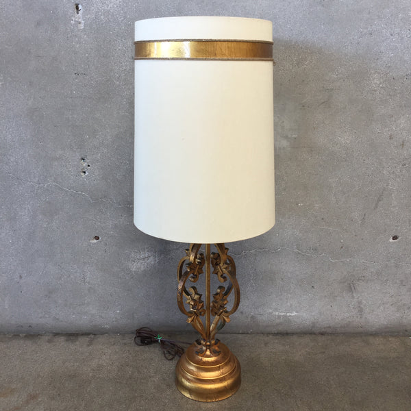Gold Vintage Hollywood Regency Iron Lamp