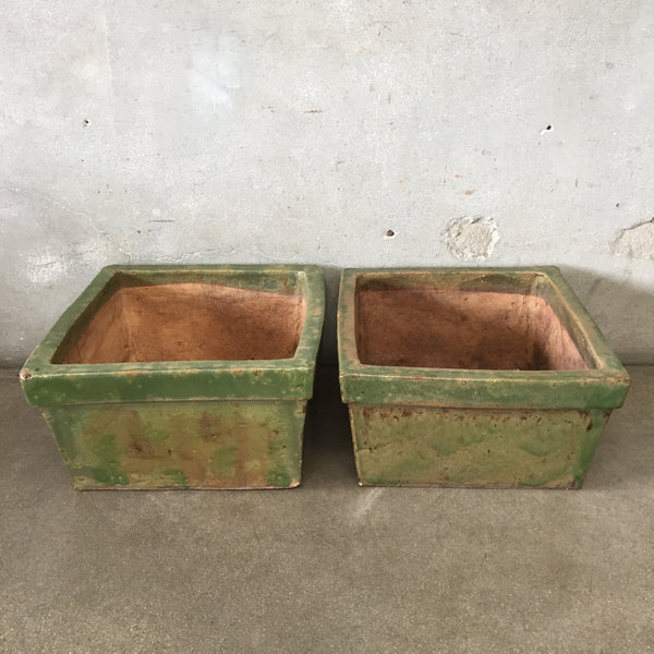 Pair of Green Square Pottery Planters