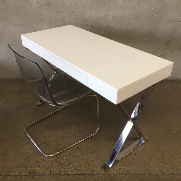White Modern Desk & Acrylic Chair Set