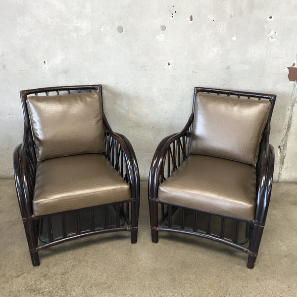 Pair of Rattan Palecek Chairs with New Vinyl Upholstery