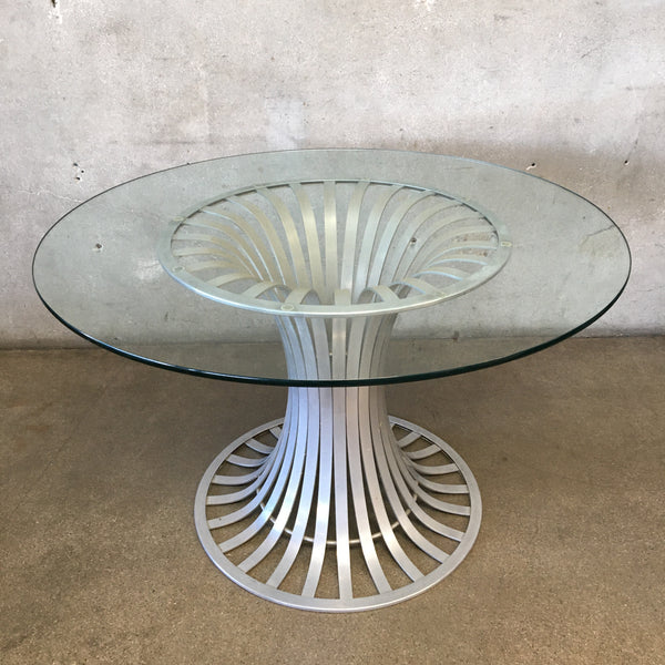 Vintage Mid Century Russell Woodard Aluminum and Glass Dining Table