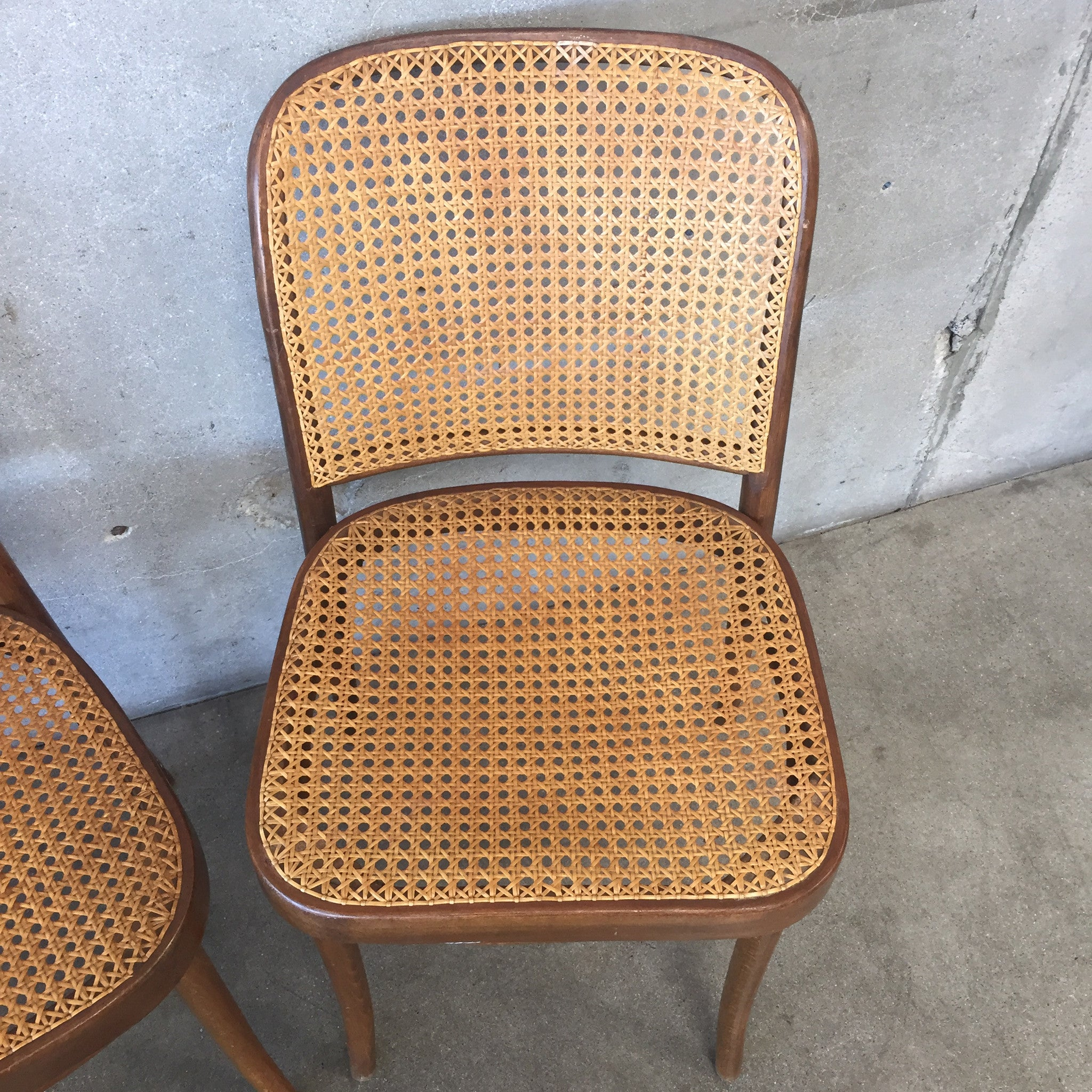 Pair of Vintage Thonet Style Cane Dining Chairs UrbanAmericana