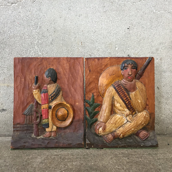 Rare Mexican Bas Relief Bookends by Roberto De La Selva