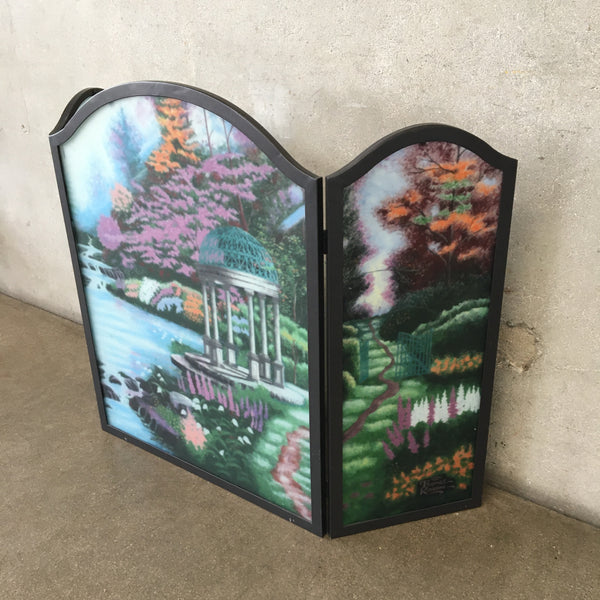 Three Piece Painted Thomas Kinkade Fireplace Screen