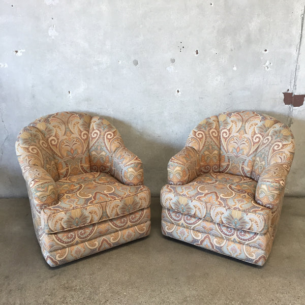 1980's Pair of Upholstered Swivel Chairs