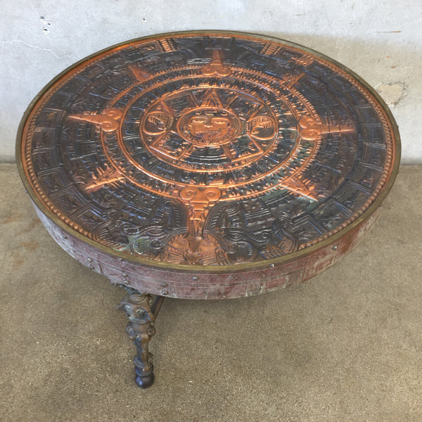 Vintage Hand Tooled Aztec Calendar Bronze Coffee Table