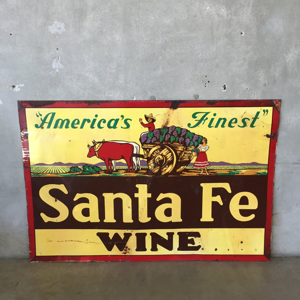 1950's Santa Fe Wine Metal Sign