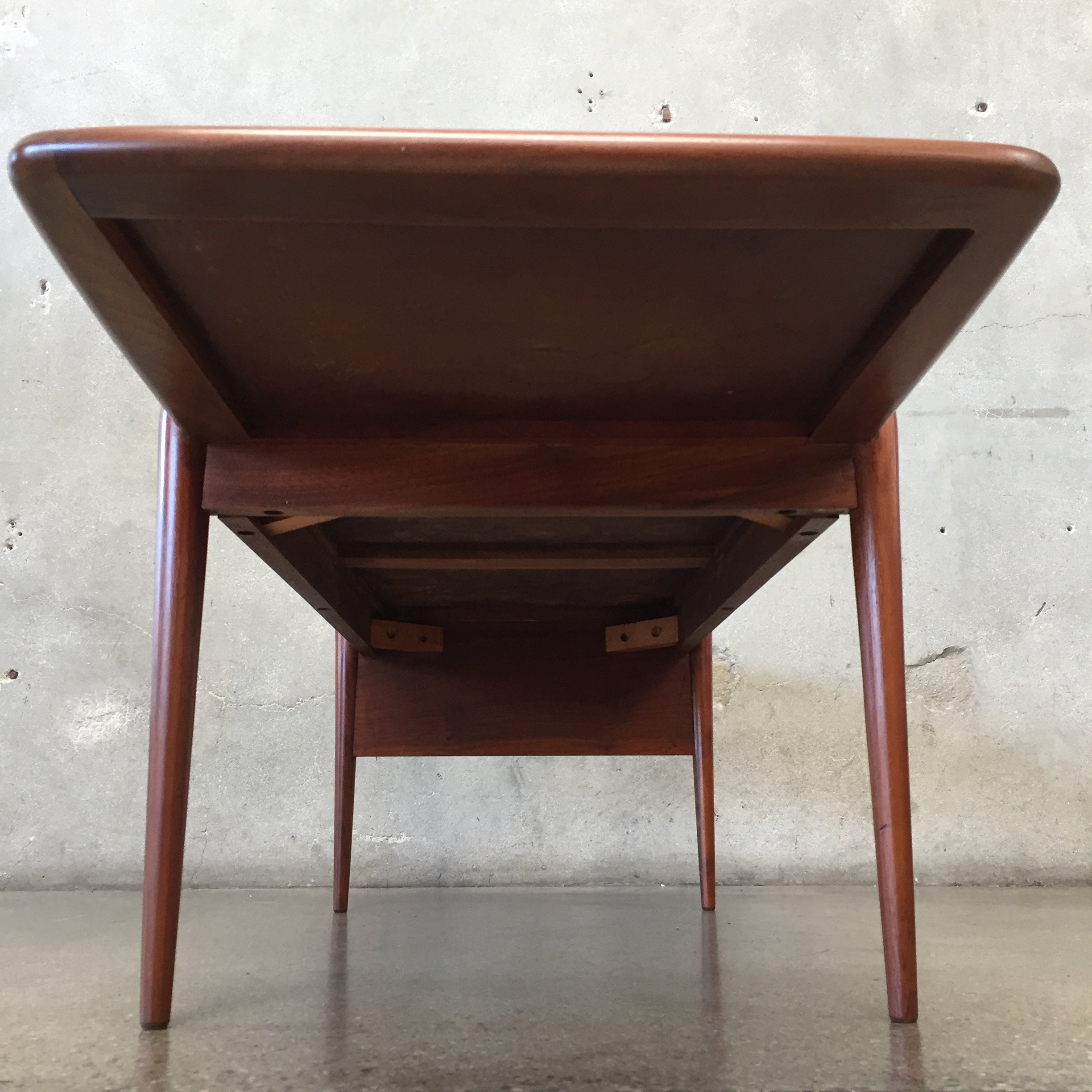 Mid Century Walnut and Laminate Coffee Table with Magazine Rack