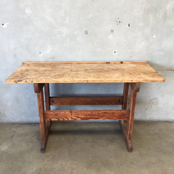 Industrial Wood Plank Workbench