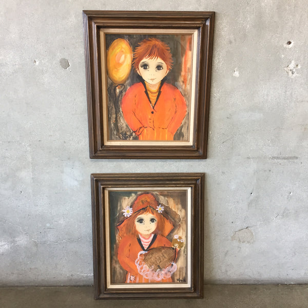 Pair of Roger Etienne Signed Boy & Girl Big Eye Paintings