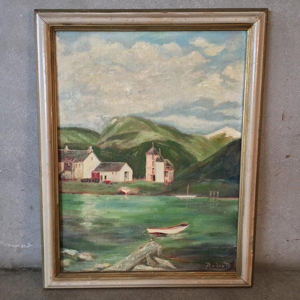 Signed Lakeside Oil Painting