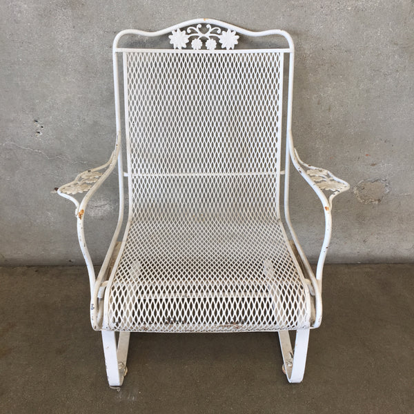 White Metal Iron Patio Spring Chair