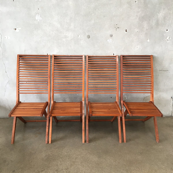 Set of Four Vintage Wood Folding Chairs