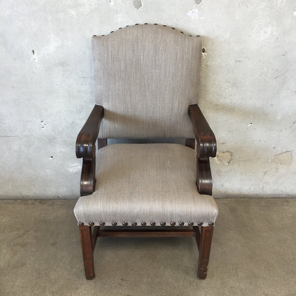 Grey Linen Chair With Nailheads
