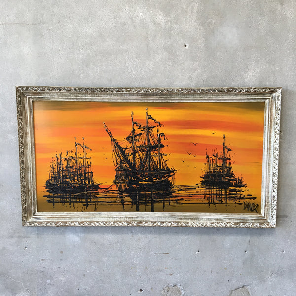 Mid Century Pirate Ship Painting