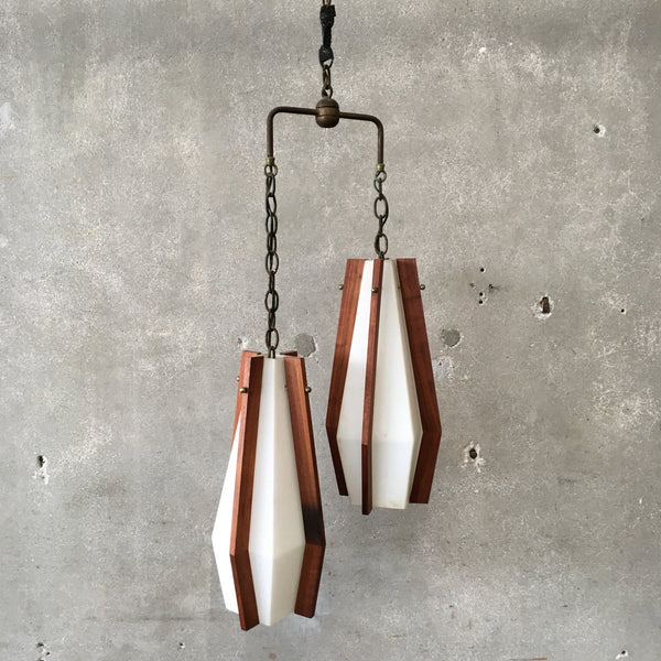 Mid Century Double Hanging Walnut & Glass Light
