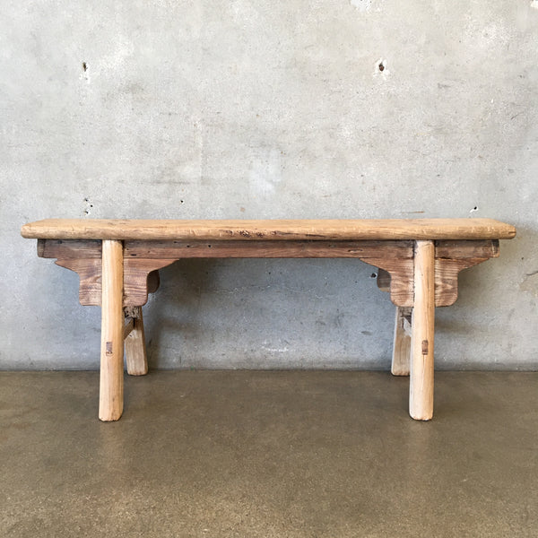 Vintage Elm Wood Skinny Bench with Apron