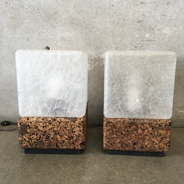 Pair of 1970's Cork Base Cube Lamps