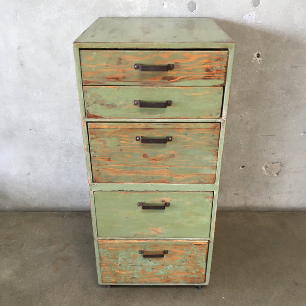 Industrial Five Drawer Cabinet