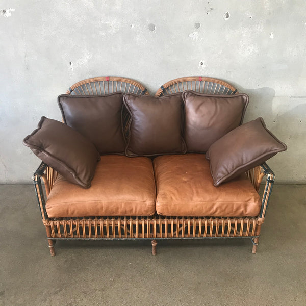 Vintage Bamboo / Leather Loveseat