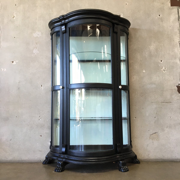 Vintage Upcycled Tall Black Curio Cabinet