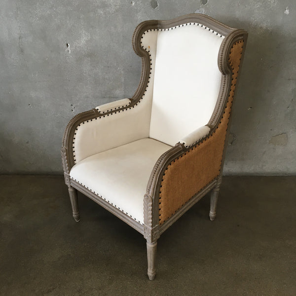 Farmhouse Burlap & Canvas Wing Back Chair