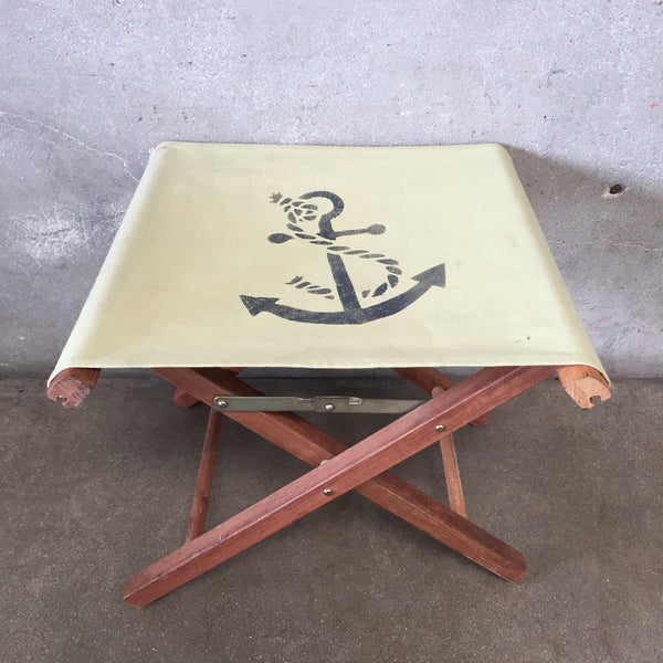 Teak Folding Stool with Anchor Print on Seat