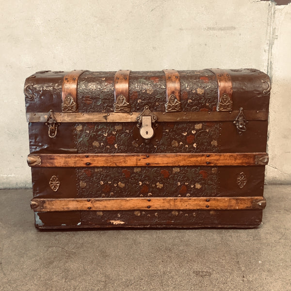 Vintage Metal Clad Storage Trunk