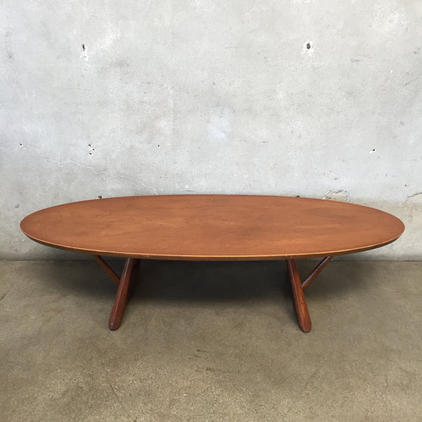 Mid Century Modern Walnut Surfboard Coffee Table