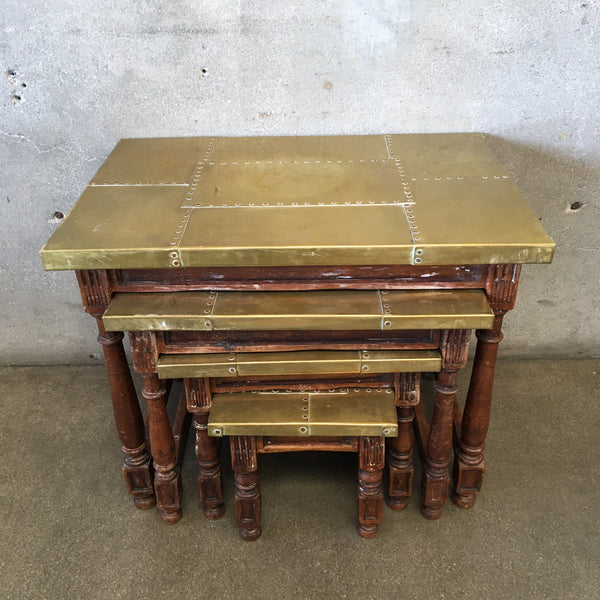 Brass Top Set of Nesting Tables
