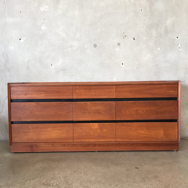 Mid Century Nine Drawer Walnut Dresser by Dillingham