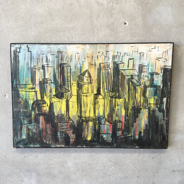 Vintage Mid Century Cityscape Watercolor Painting