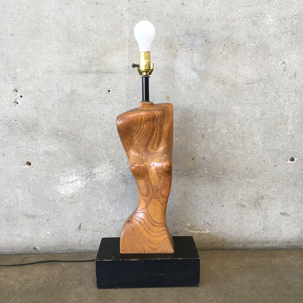 Mid Century Female Form Wood Lamp
