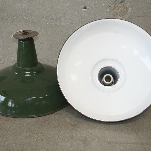 3 Green Industrial Ceiling Lamps