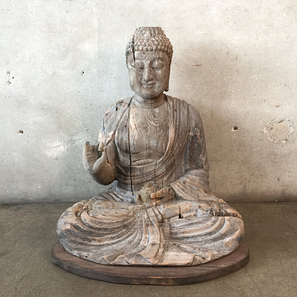 Vintage Wood Carved Buddha